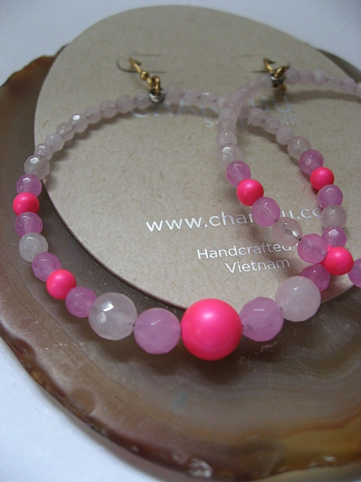 Chan Luu Earrings pink Quartz Lavender Jade Pink Mix Hoops w gold Vermeil  NWT