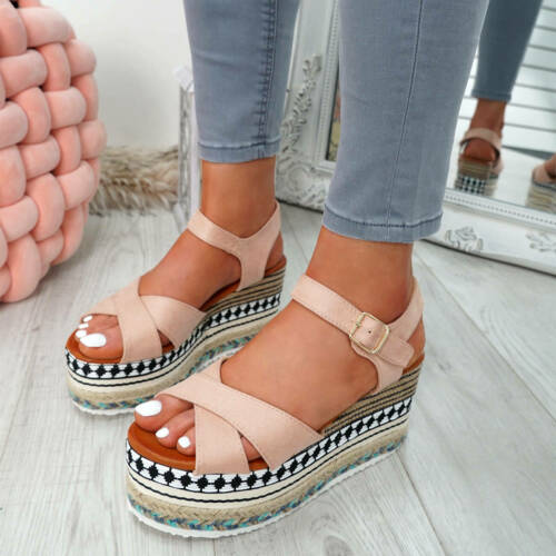 WOMENS LADIES FLATFORM ESPADRILLE SANDALS HIGH HEEL PLATFORMS SHOES SIZE