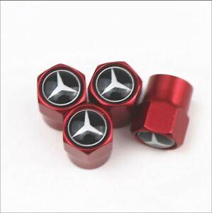 4-Bouchons-De-Valve-Mercedes-Benz-metal-adapte-pour-les-pneus-rouge-Performance