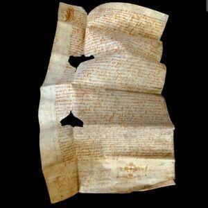 RARE-1521-Medieval-Vellum-Authentic-Manuscript-W-Cross-Renaissance-Era-Document