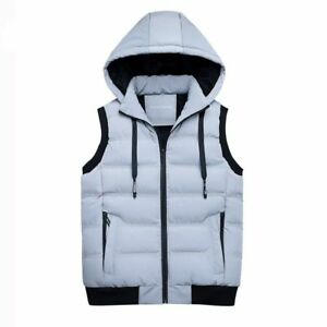 2fa84721c75 Men Winter Vest Thick Casual Slim Duck Down Vests with Hat ...