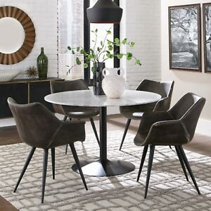 Details About Modern Rustic 5 Piece Dining Set Round White Marble Table Top Two Chair Styles
