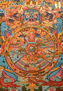 Buddha-Feiner-TIBET-THANGKA-WHEEL-OF-LIFE-Lebensrad-aus-NEPAL-52x41-cm