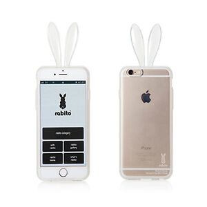 huge selection of 270c3 7e2b2 Details about Rabito Bunny Rabbit Ear iPhone 6S 6 Transparent Clear  Changeable Skin Cover Case