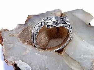 Handcrafted Art 925 Sterling Silver With Two Dragons Design Ring-Custom size