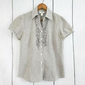 LOFT-size-6-Women-039-s-Ruffled-Striped-Button-Down-Shirt-Top-Blouse-Short-Sleeve
