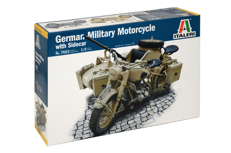 Italeri 1 9 BMW R75 German Military Motorcycle with Sidecar
