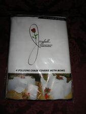 JOYFULL Folding Chair Covers With Bows ~ The Look of Cloth ~ 4 Pack