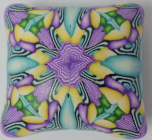 5 HandCrafted Colorful Square Pillow Polymer Clay Susan Pickle Pendant Bead 24mm