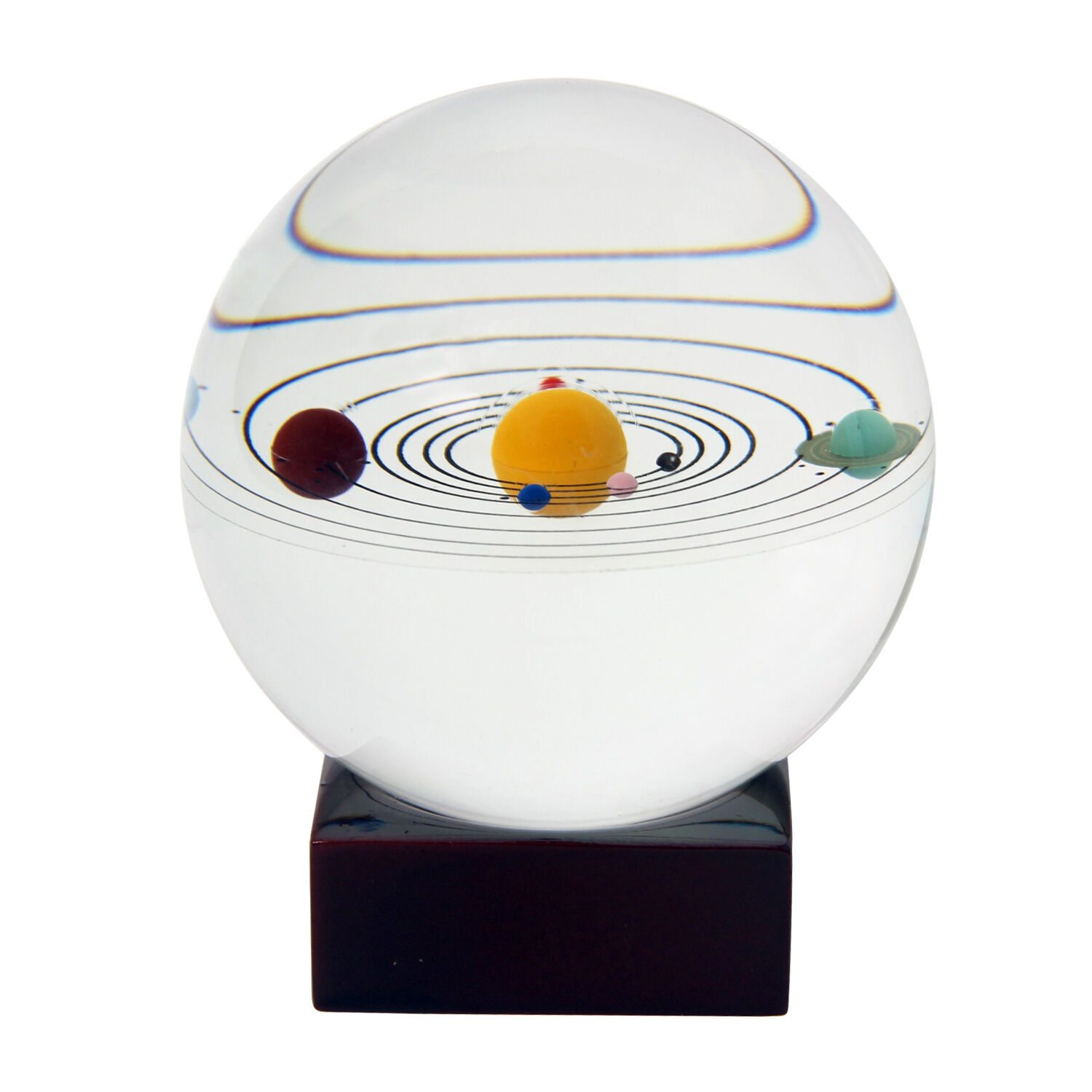 3d solar system crystal ball galaxy 8 planets with wooden for Decoration 3d sol