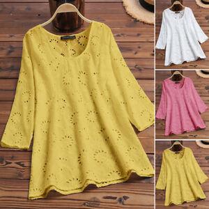 ZANZEA-8-24-Women-Pullover-Eyelet-Hollow-Out-Floral-Top-Tee-Shirt-Cotton-Blouse
