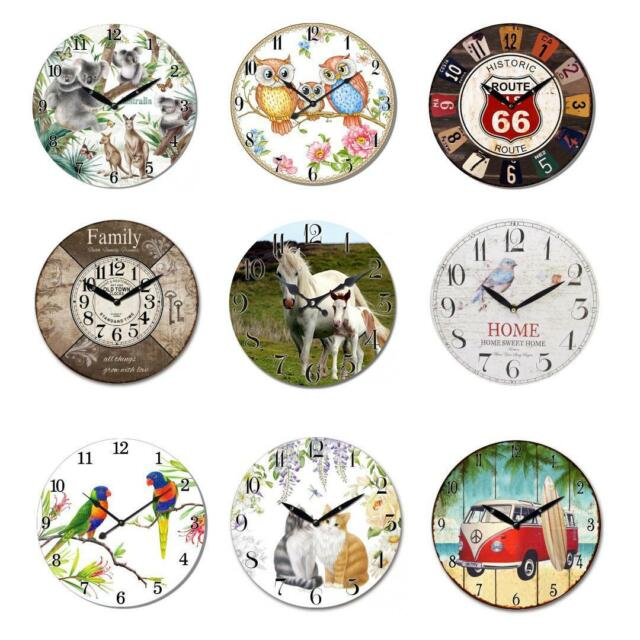 Wood Wall Clock Vintage Retro Country Style Rustic Antique Kitchen Home Decor