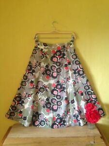 Nomads-size-10-retro-60-039-s-50-039-s-vintage-boho-look-spotty-floral-green-red-skirt