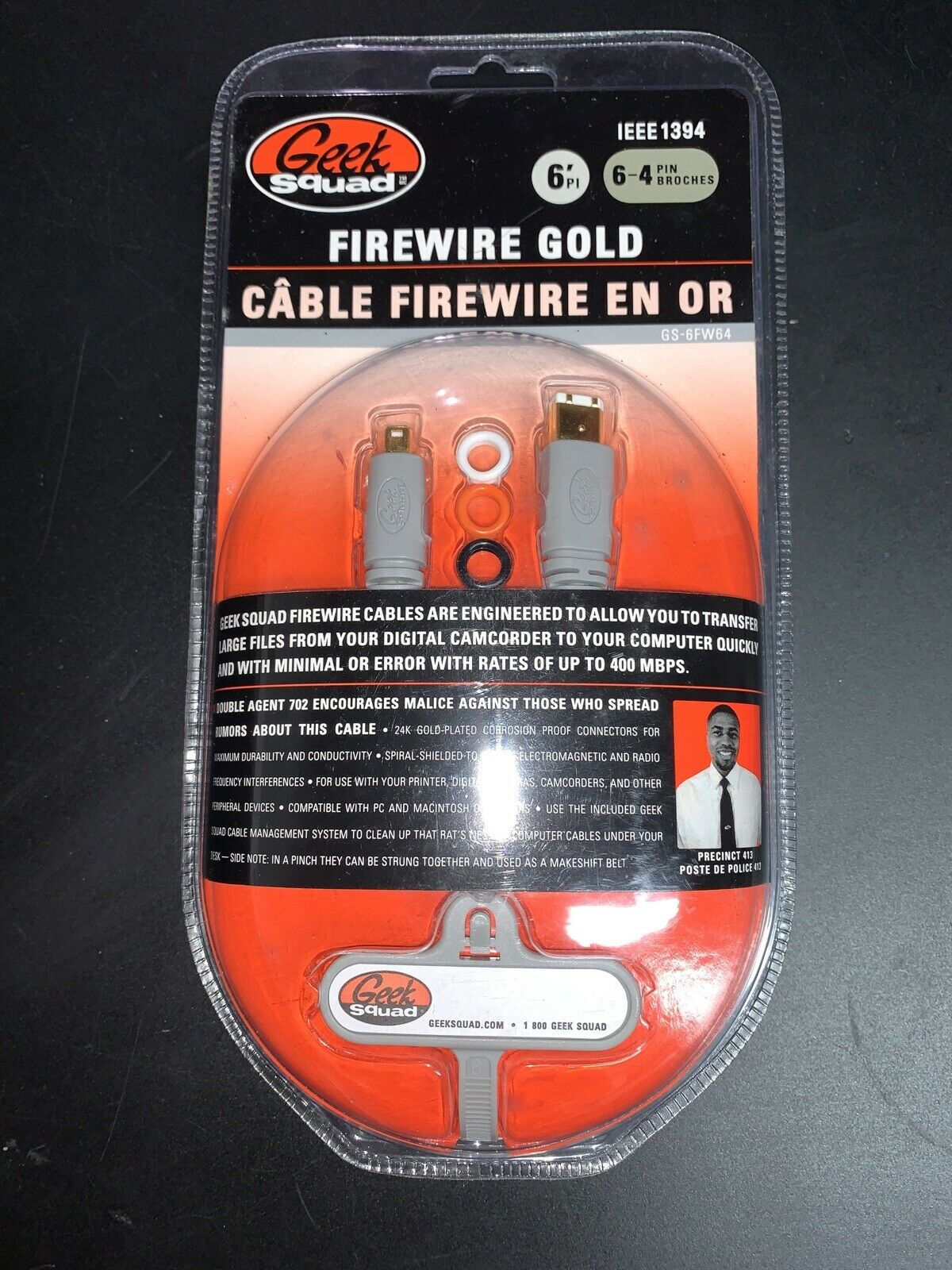 GEEK SQUAD Firewire Cable Gold 6' 6-pin to 4-pin GS-14FW64 IEEE 1394