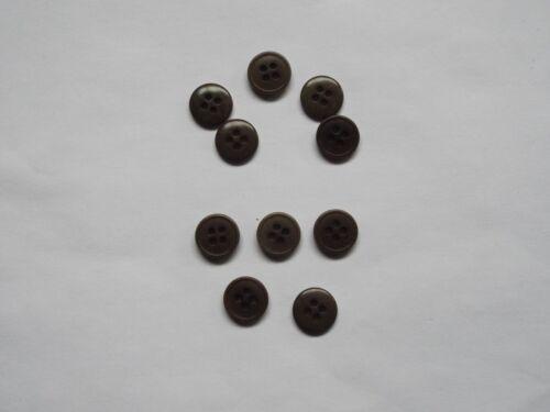 10pc 15 mm Coffee Brown Pantalon Costume Knitwear Cardigan 4 bouton trou 1084