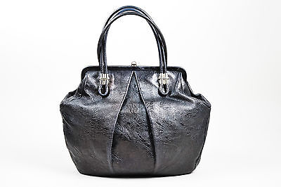 "Alexander McQueen $1570 Black Silver Tone Distressed Leather Pleated ""Frame"" Bag"
