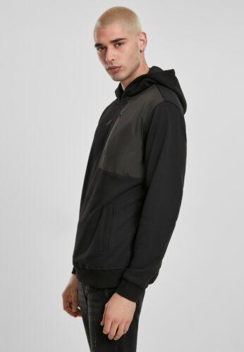 Urban Classics Jersey Men's Sweatshirt With Hood Pocket Military Shoulder Black