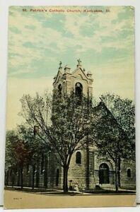 Kankakee-Illinois-Patrick-039-s-Catholic-Church-c1910-to-Forest-Park-Ill-Postcard-I4