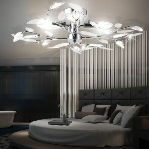 Design Decken Lampe Blüten Blätter Leuchte Beleuchtung Chrom Wohn Living-XXL