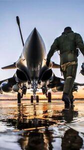 toile tableaux  avion et pilote de chasse  50x70 cm
