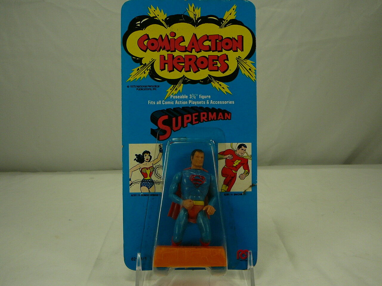 Vintage Mego Comic Action Heroes 1975 DC Comics 3 3 4 Superman Comme neuf on Card RARE ORIGINAL