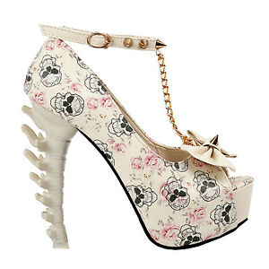 Pirates-Skull-Studs-Bow-Chain-Peeptoe-Ankle-Strap-Platform-Dinosaur-Bone-Pumps