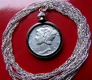 American-Silver-Mercury-Dime-Pendant-on-a-30-034-925-Sterling-Silver-Wavy-Chain