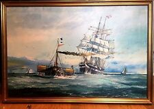 OIL PAINTING Fine Mid 20th Century Marine SHIP SCENE SIGNED canvas GOLD Frame