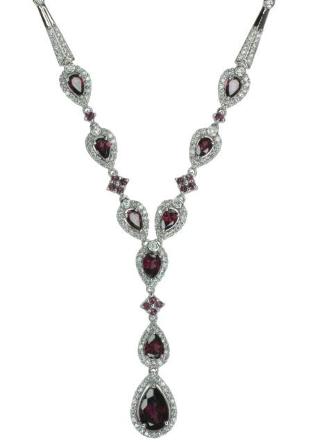 Rhodolite Garnet Gemstone Very Glamorous Sterling Silver Necklace