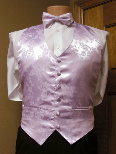 Lavender Vest and Bow Tie 2xl  Vintage Rose Patterned Steampunk Retro Tuxedo