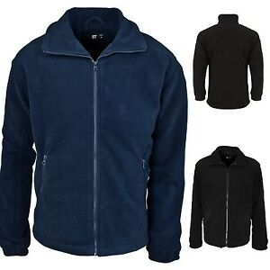 MENS WARM FLEECE JACKET ZIP POCKETS FULL ZIP BLACK NAVY WORKWEAR