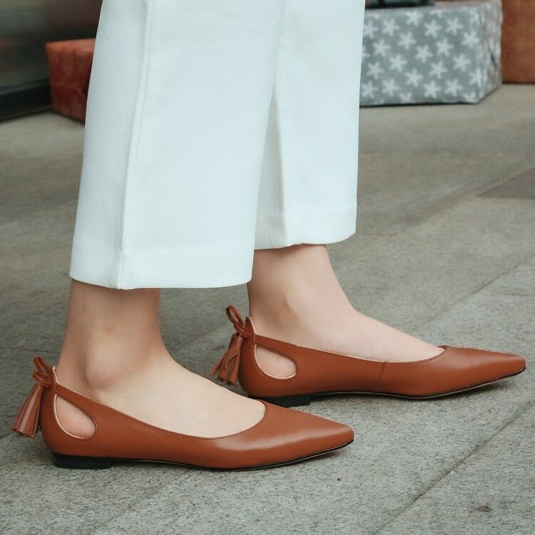 Womens Pointed Toe Slip On Flat Heel Ballet Flats Solid Leather Elegant shoes