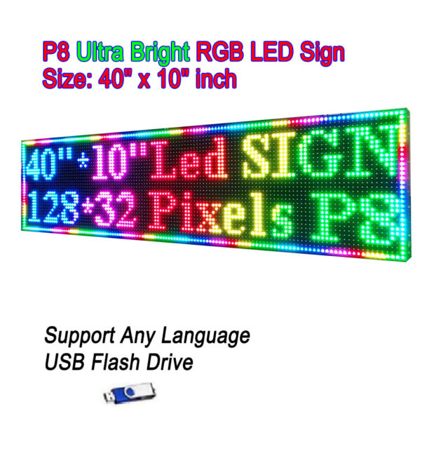 """38/""""x 8/"""" P6 Semi Outdoor Full Color LED Sign Programmable Scrolling Message Board"""