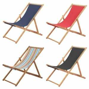 Strange Details About Vidaxl Folding Beach Chair Fabric Wood Frame Outdoor Lounge Seat Multi Colors Caraccident5 Cool Chair Designs And Ideas Caraccident5Info