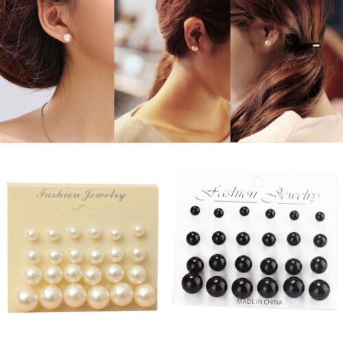 6-12mm 12Pair Mujer Brillante Perla Artificial Pendientes Botón Conjunto Joyas