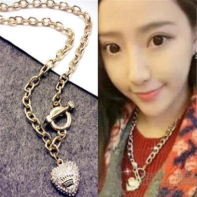 Crystal Fashion Charm Jewelry Heart Pendant Choker Statement Bib Necklace Chain