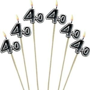 Image Is Loading 40th Birthday Candles Cake Toppers Fortieth Forty Party