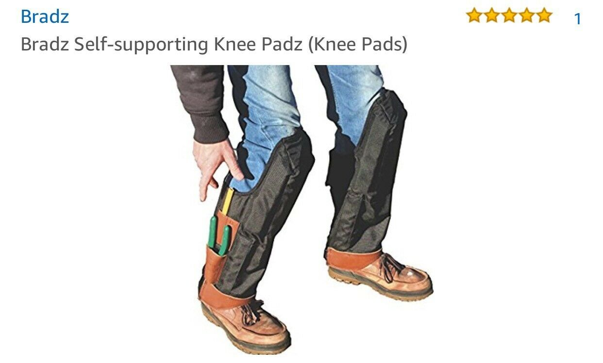 Bradz Self-Supporting knee Pads. Open behind the knee, water proof, contruction.