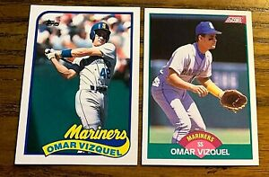 Omar-Vizquel-Rookie-Topps-Traded-122-and-Score-Traded-105-Mariners