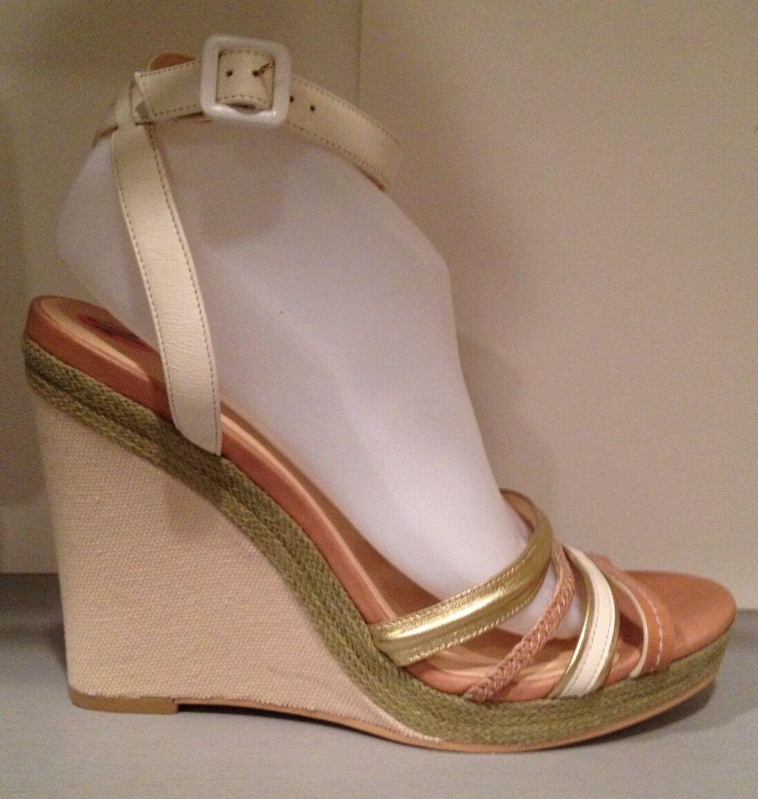 Cole Ankle Haan Sandales Wedge Platform Ankle Cole Strap Leder Canvas Beige Gold Ivory 10 23fd85