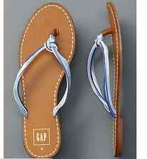 GAP multi-rope flip flops Leather 8 Brown Blue White NWT flat Sandals