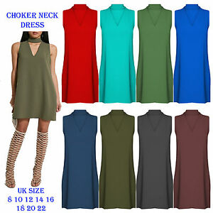 f9b52ba0b New Womens Choker V Neck Long Blouse Tops Ladies Casual Party Mini T ...