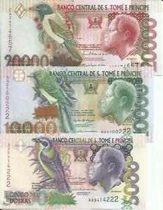 5000-20000 Dobras Saint Thomas-sao Tome Set-lot 3 Notes 3rw New Varieties Are Introduced One After Another Unc