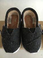 Tiny Toms Wool Herringbone Slip-on In Black Sizes 2,3,4,5,6,9,11