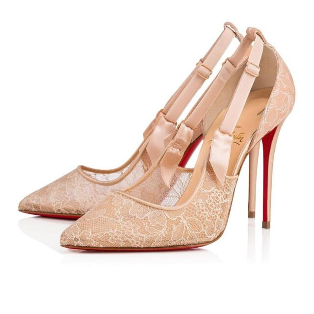 huge discount fe437 1cf0a Christian Louboutin HOT JEANBI 100 Chantilly Lace Heels Pumps Shoes Nude  $895