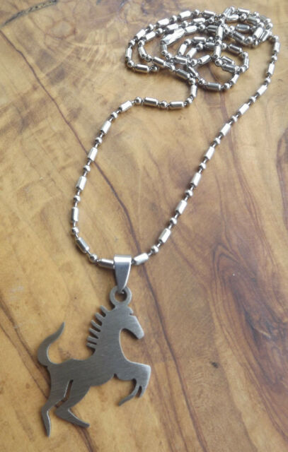 Horse Pendant Necklace - Stainless steel Mens jewellery - Father's Day !