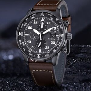 Citizen Eco Drive Crono Aviator Men S Wrist Watch Chronograph Genuine New Box Ebay