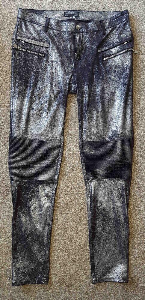 La Fourniture Zara Argent/noir Motard En Daim Synthétique Style Pantalon Taille Moyenne CoûT ModéRé