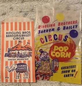 Vintage Ringling Bros. Barnum & Bailey Circus Popcorn and Peanut Bags 1950s