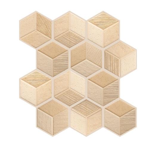 3D Polygon Wall Stickers Brick Mosaic Tile Contact PVC Kitchen Bathroom Decor